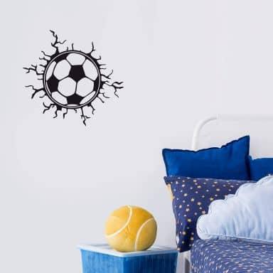 Sticker mural - Fissures autour d'un ballon de football