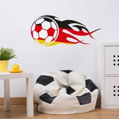 Wandtattoo Fußball mit Flammenschweif schwarz rot gold