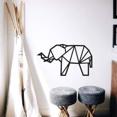 Wall sticker origami elephant