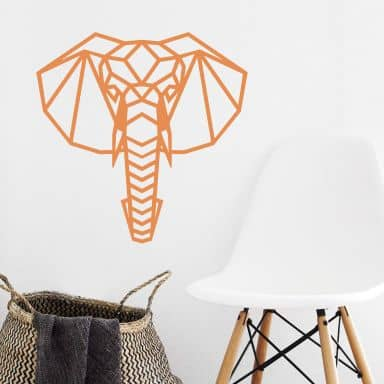 Wall sticker origami elephant
