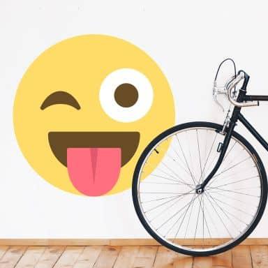 Wall Sticker Emoji Winking Eye