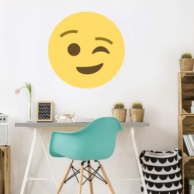 Wall Sticker Emoji Winking Face
