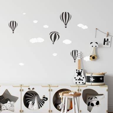 Muursticker Luchtballonnen met wolken (2-kleurig)