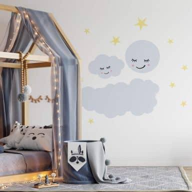 Wandtattoo Sternenhimmel mit Wolke und Mond schlafend