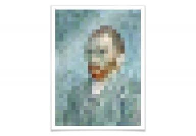 Poster Pixelart - van Gogh - Selbstbildnis 1889