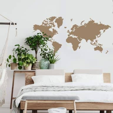 Sticker mural - Mappemonde simple