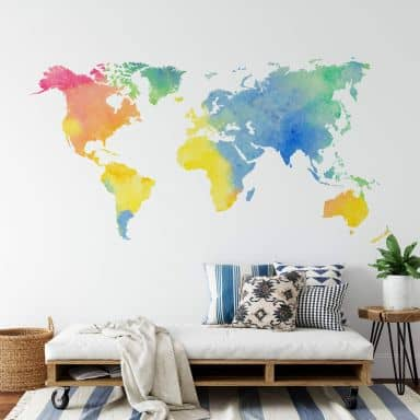 Sticker mural - Aquarelle mappemonde