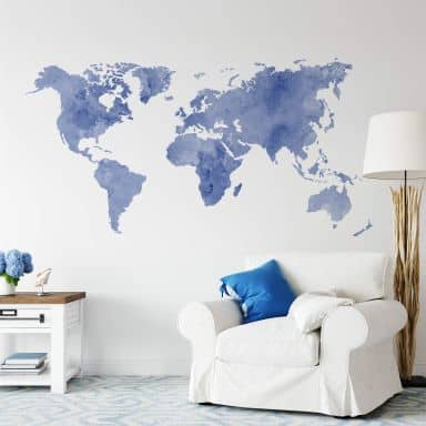 Sticker mural - Aquarelle mappemonde (bleu)