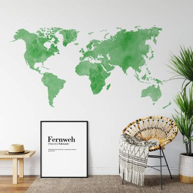 Aquarel World Map (Green) Wall Sticker