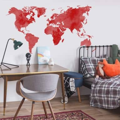 Sticker mural - Aquarelle mappemonde (rouge)