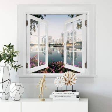 3D Wandtattoo Fenster quadratisch - Colombo - Bangkok und seine Lichter