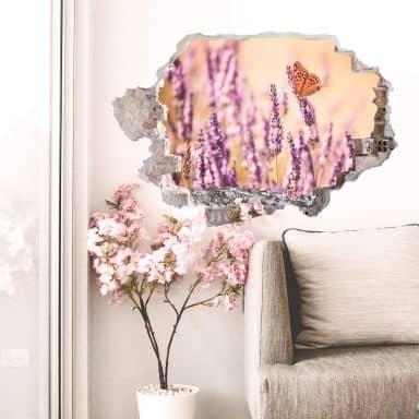 3D Wandtattoo Colombo - Der Schmetterling im Lavendel