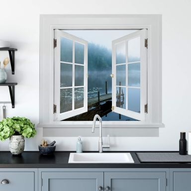 3D Wandtattoo Fenster quadratisch - Lindsten - Moody Morning