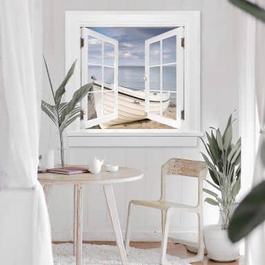 3D Wandtattoo Fenster quadratisch - Strandidyll