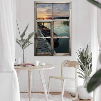Trompe L'oeil Wall sticker - Sunset at the Lake