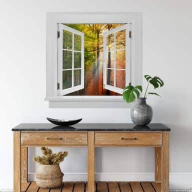 3D Wandtattoo Fenster quadratisch - Goldener Herbst