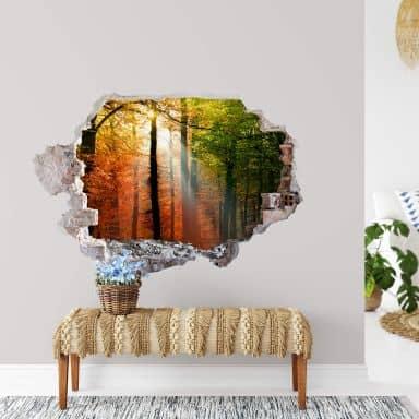 3D Muursticker Trompe L'Oeil Golden Autumn Days