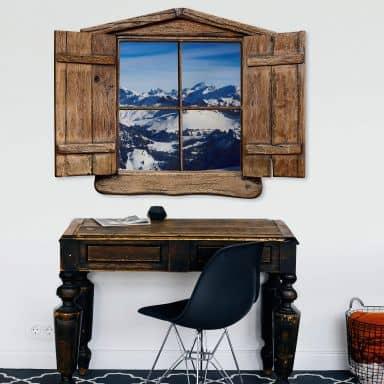 Trompe L'oeil Muursticker - in de Alpen