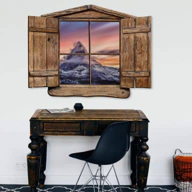 3D Wandtattoo Holzfenster - Top of the mountain