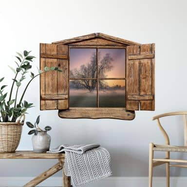 3D Wandtattoo Holzfenster - Cuadrado - The Fog