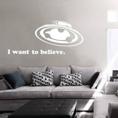 Muursticker I want to believe