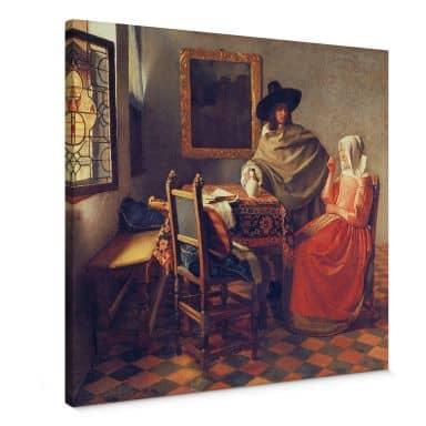 Tableau sur toile Vermeer - Le verre de vin