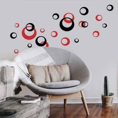 Muursticker Retro Cirkels 2-kleurig