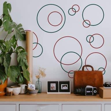 Muursticker Retro Ringen 2-kleurig