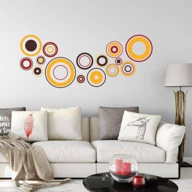 Adesivo murale - Dischi rétro - arancione