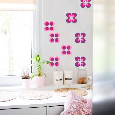 Sticker mural - Sphères rétro fuchsia