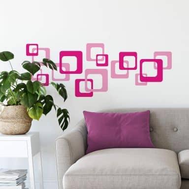 Muursticker Retro Cubes - Pink