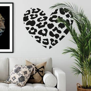 Leopard heart Wall sticker