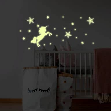 Wall Sticker Illuminated Unicorn