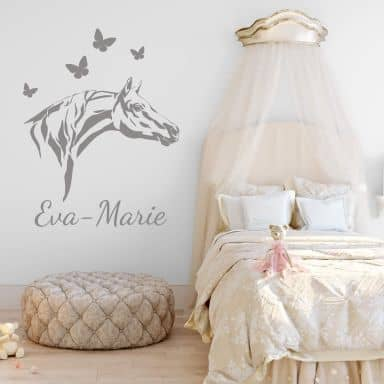 Name + Horse Head Wall sticker