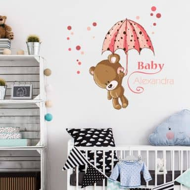 Baby Bear + Name - Wall Sticker