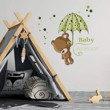 Bear Green + Name Wall sticker