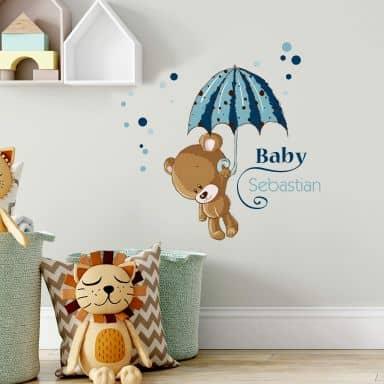 Wallsticker - Navn + baby i blå