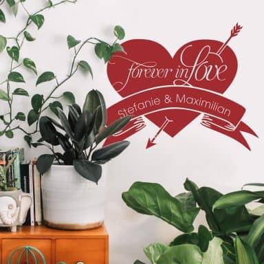 Wallsticker - Navn + forever in love