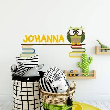 Name + Owl with Books Wall sticker