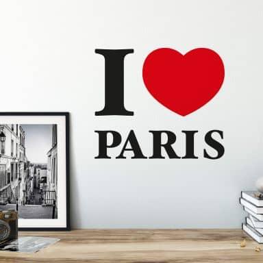 Muursticker I love Paris