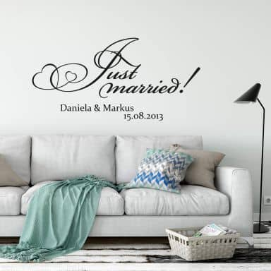 Name + Just married! Wall sticker