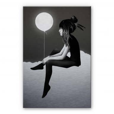 Alu-Dibond mit Silbereffekt Ireland - No such thing as nothing by night - leuchtender Ballon