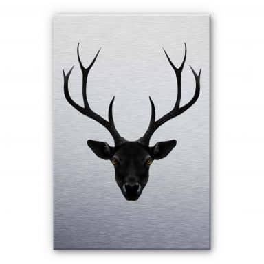 Alu-Dibond Silbereffekt Ireland - The Black Deer  - Schwarzer Hirsch