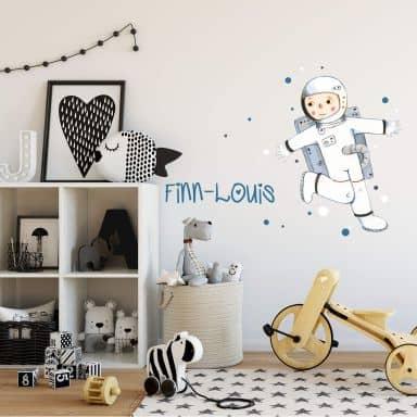 Sticker mural Astronaute (Judith Loske) + Nom à personnaliser