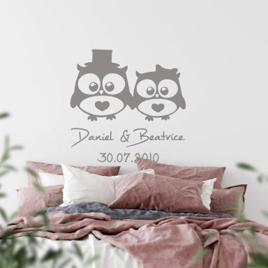 Wedding Owls + Names Wall sticker