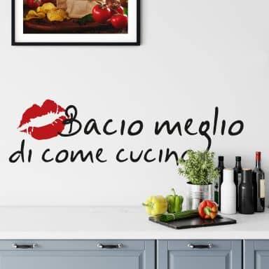 Muursticker Bacio meglio...  (2-kleurig)