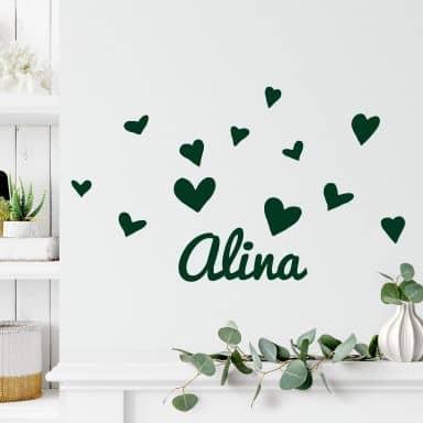 Wall sticker Hearts with a name you like