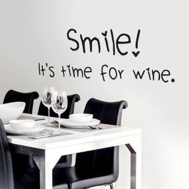 Wall sticker Smile it\'s time for wine
