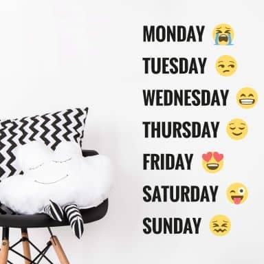 Wall Sticker Emoji Days of the week