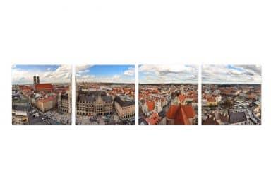 Glasschilderijen Set Skyline van Munchen - Panorama